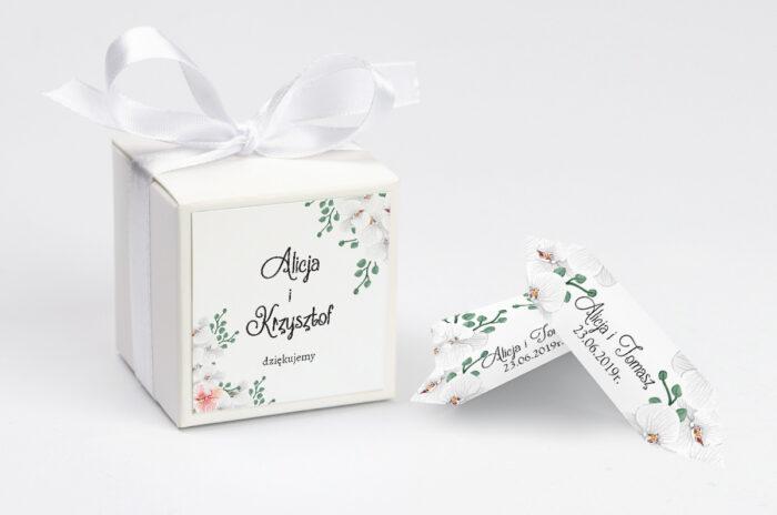 Ozdobne pudełeczko z personalizacją do zaproszenia ze zdjęciem i sznurkiem - Białe Storczyki