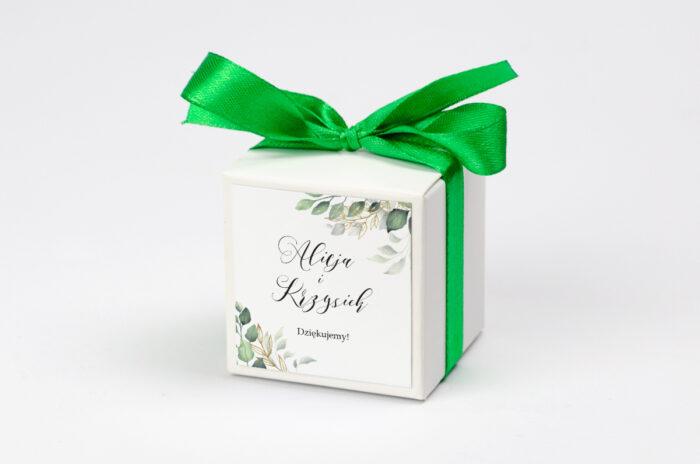 Ozdobne pudełeczko na krówki do zaproszeń Botaniczne – Gałązki ze złotem