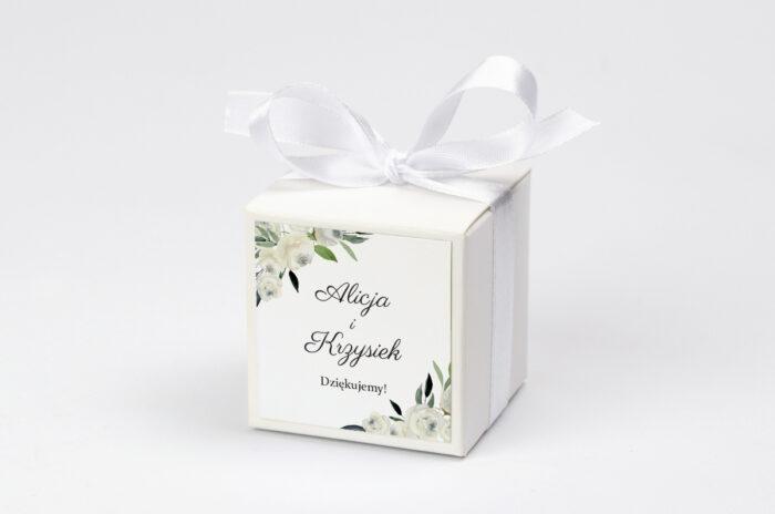 Ozdobne pudełeczko z personalizacją zaproszenia jednokartkowe - Białe kwiaty