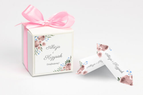 Ozdobne pudełeczko z personalizacją zaproszenia jednokartkowe - Polne kwiaty