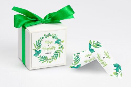 Pudełeczko z personalizacją Kwadratowe – Zielony Wianek