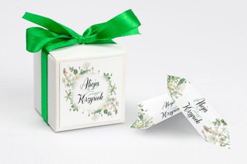 Ozdobne pudełeczko z personalizacją zaproszenia Kwiaty Vintage – wzór 7