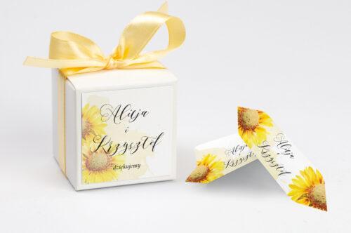 Pudełeczko z personalizacją do zaproszenia Namalowane Kwiaty – wzór 16 - słoneczniki