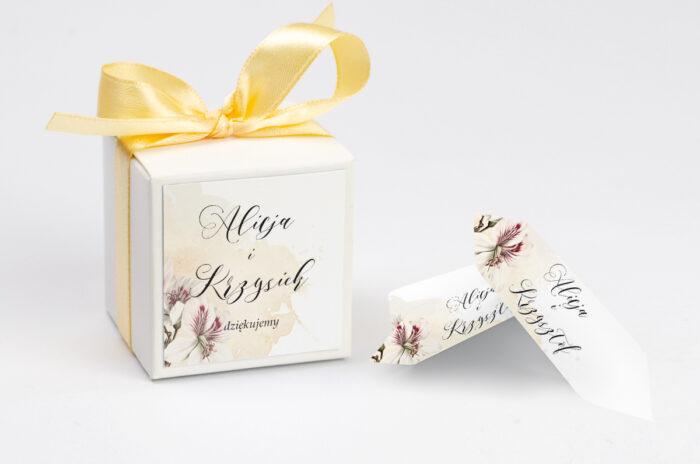 Ozdobne pudełeczko z personalizacją zaproszenia Namalowane Kwiaty – wzór 22