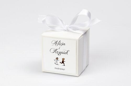 personalizowane pudełeczko na krówki lolki uciekający pan młody