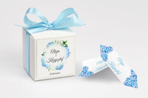 Pudełeczko z personalizacją Wianki z kokardą - Niebieskie Hortensje