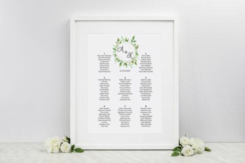 Plan stołów weselnych do zaproszenia ze zdjęciem i sznurkiem – Liściaste