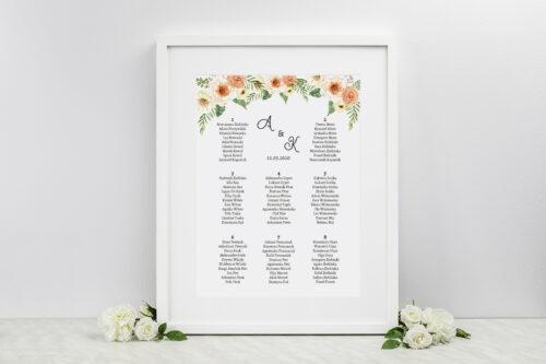 Plan stołów weselnych do zaproszenia ze zdjęciem i sznurkiem – Słoneczne Kwiaty