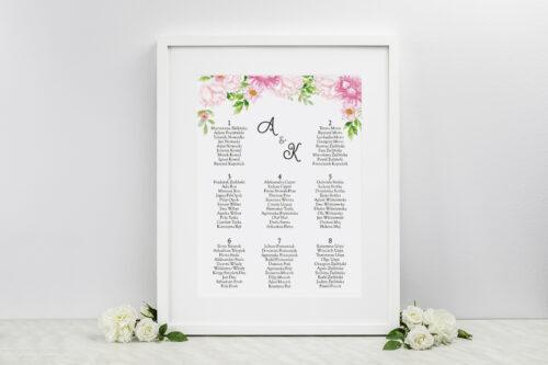 Plan stołów weselnych do zaproszenia ze zdjęciem i sznurkiem – Pastelowe kwiaty w różu