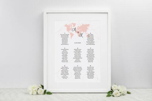 Plan stołów weselnych do zaproszenia ze zdjęciem i sznurkiem – Dookoła Świata