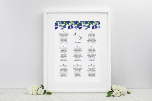 Plan stołów weselnych - do zaproszenia Kwiaty Vintage – wzór 1