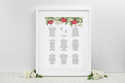 Plan stołów weselnych - do zaproszenia Kwiaty Vintage – wzór 16