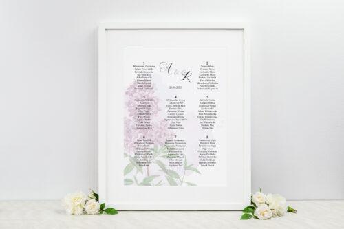 Plan stołów weselnych - do zaproszenia Namalowane Kwiaty – wzór 19