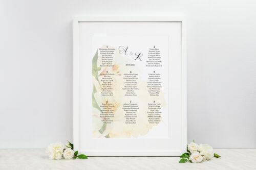 Plan stołów weselnych - do zaproszenia Namalowane Kwiaty – wzór 24