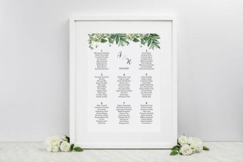 Plan stołów weselnych - do zaproszenia Kwiaty Vintage – wzór 8