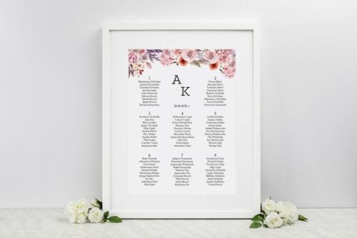 Plan stołów weselnych - do zaproszenia Akwarelowe Bukiety – wzór 10