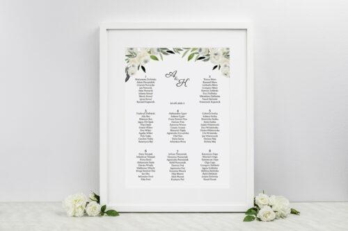 Plan stołów weselnych do zaproszenia jednokartkowe - Białe kwiaty