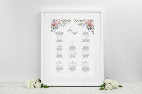 Plan stołów weselnych do zaproszenia jednokartkowe - Polne kwiaty