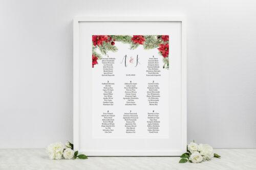tablica gości weselnych we wzorze gwiazdy betlejemskiej
