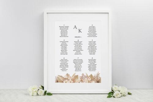 Plan stołów weselnych do zaproszenia Jednokartkowe z Kwiatami – wzór 14