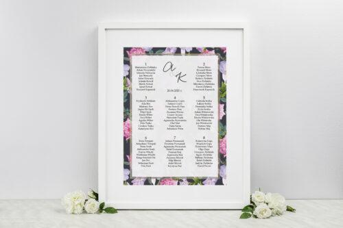 Plan stołów weselnych - do zaproszenia Tło z kwiatów – wzór 10