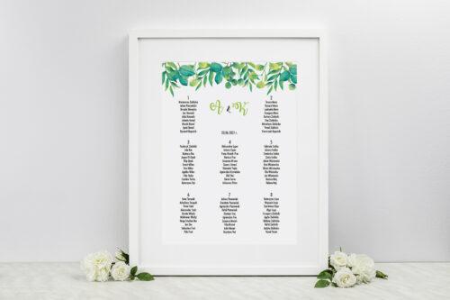 Plan stołów weselnych Kwadratowe – Zielony Wianek