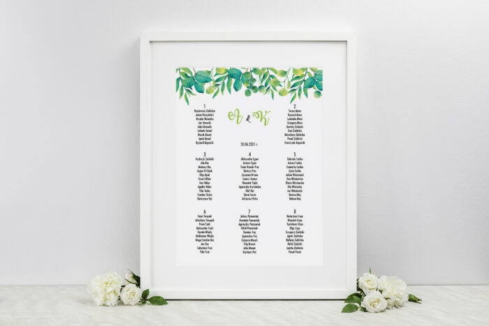 plan-stolow-weselnych-kwadratowe-zielony-wianek-dodatki-ramka-papier-