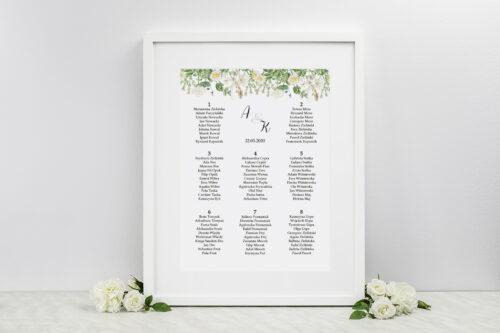 Plan stołów weselnych - do zaproszenia Kwiaty Vintage – wzór 7