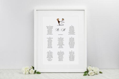 Plan stołów weselnych - do zaproszenia Lolki trzymające się za ręce