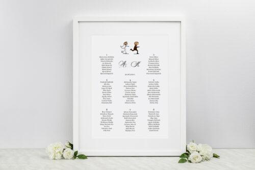 Plan stołów weselnych - do zaproszenia Lolki uciekający pan