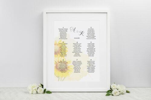Plan stołów weselnych - do zaproszenia Namalowane Kwiaty – wzór 16