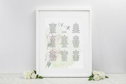 Plan stołów weselnych - do zaproszenia Namalowane Kwiaty – wzór 2