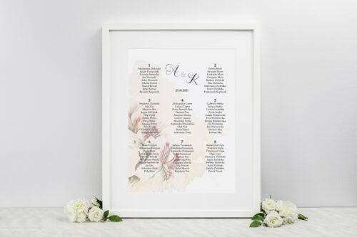 Plan stołów weselnych - do zaproszenia Namalowane Kwiaty – wzór 22