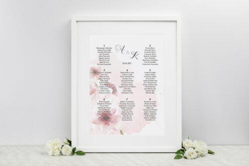 Plan stołów weselnych - do zaproszenia Namalowane Kwiaty – wzór 6