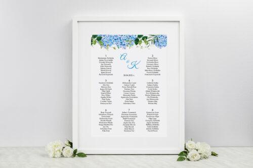 Plan stołów weselnych Wianki z Kokardą - Niebieskie Hortensje