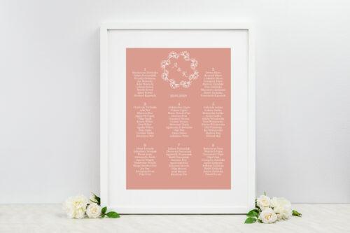 Plan stołów weselnych Kwadratowe – Różany Wianuszek