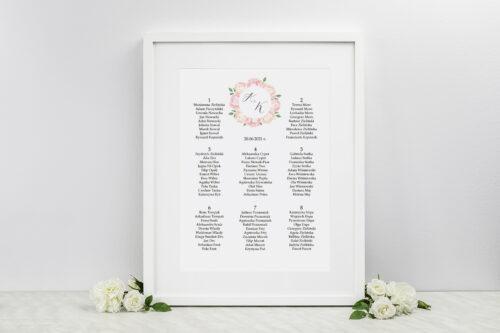 Plan stołów weselnych Wianki z Kokardą - Herbaciane Róże