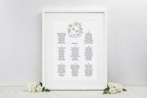 Plan stołów weselnych Wianki z Kokardą - Biało-Fioletowe Eustomy