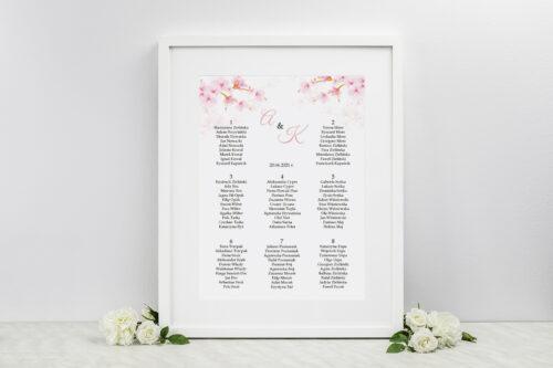 Plan stołów weselnych Zdjęcie&Kalendarz w folderze – Kwiaty jabłoni