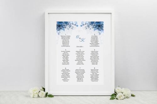 Plan stołów weselnych Zdjęcie&Kalendarz w folderze – Niebieski bukiet