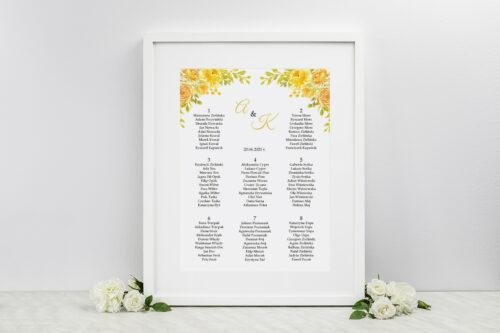 Plan stołów weselnych Zdjęcie&Kalendarz w folderze – Żółte róże