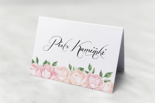 Winietka ślubna do zaproszenia Wianki z kokardą - Herbaciane Róże