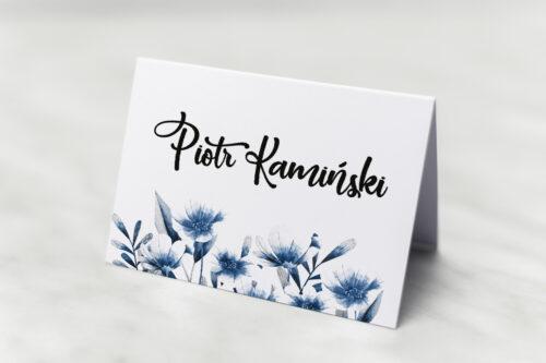 Winietka ślubna do zaproszenia Zdjęcie&Kalendarz w folderze – Niebieskie kwiaty