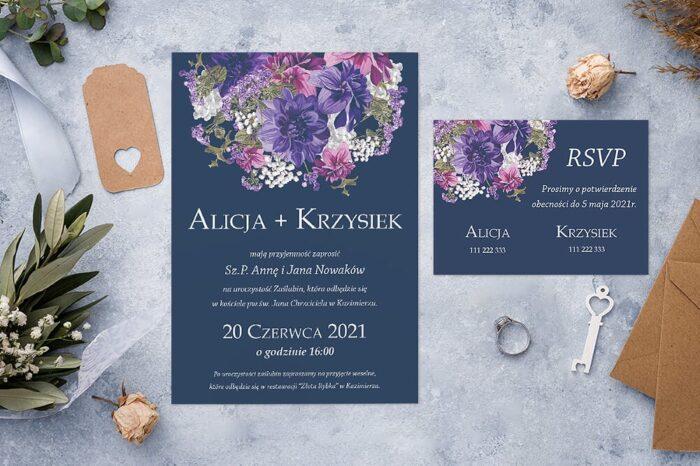 Zaproszenie ślubne jednokartkowe - Kolorowe Bukiety - wzór 1