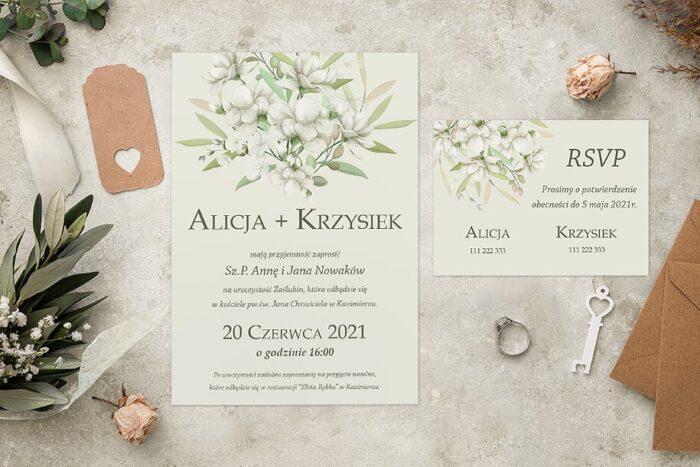 zaproszenie ślubne we wzorze białych bukietów