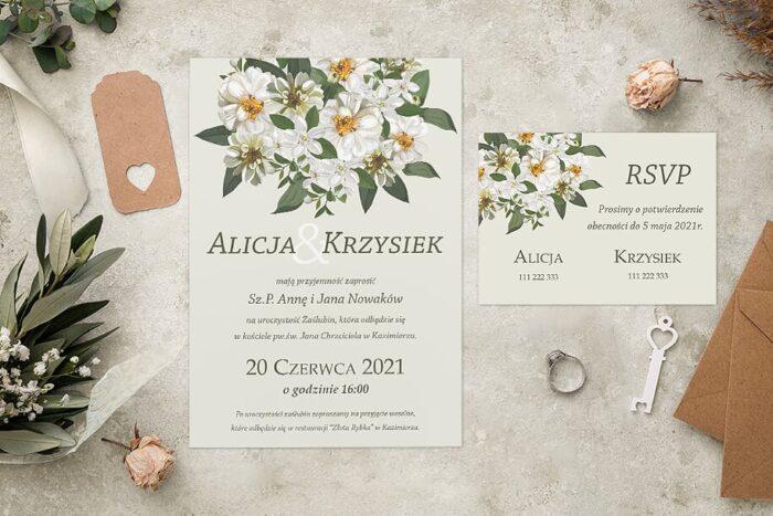 Zaproszenie ślubne jednokartkowe - Kolorowe Bukiety - wzór 11