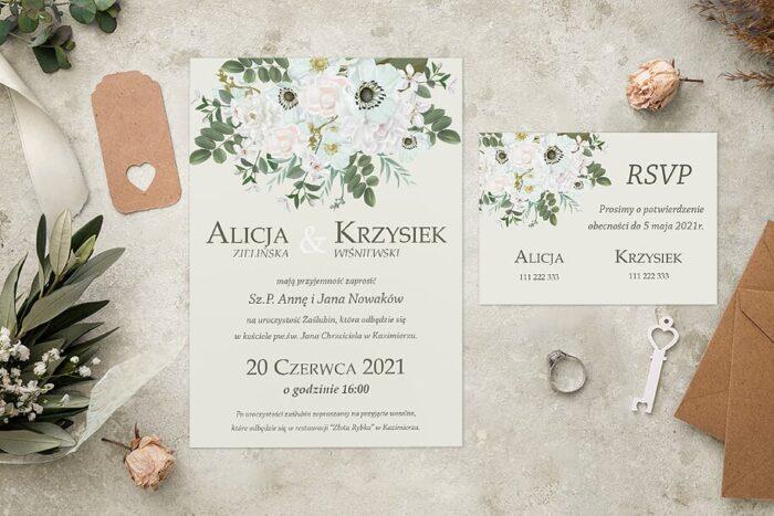 Zaproszenie ślubne jednokartkowe - Kolorowe Bukiety - wzór 12