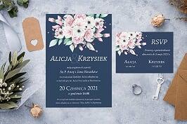 zaproszenie ślubne kolorowy bukiet