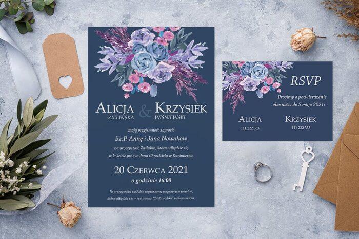 zaproszenie ślubne jednokartkowe kolorowy bukiet