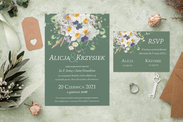 Zaproszenie ślubne jednokartkowe - Kolorowe Bukiety - wzór 5